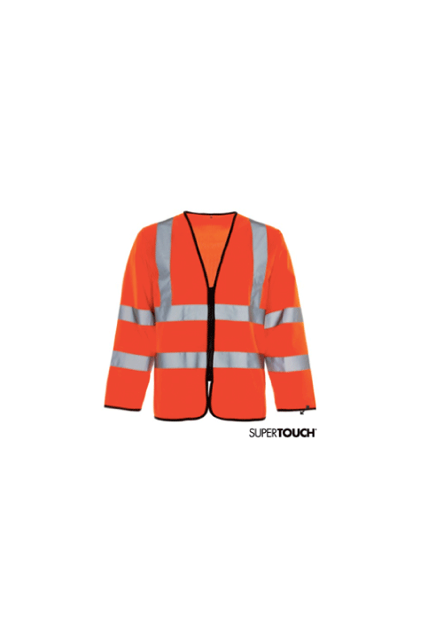 Hi-Vis Long Sleeve Zipped Vest with ID Pocket